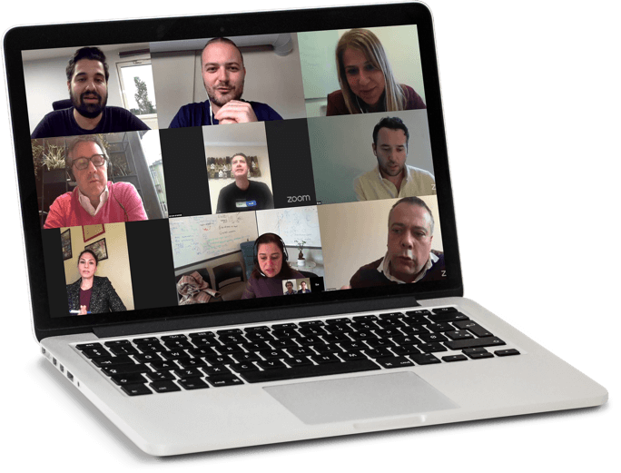 zoom meeting on a laptop